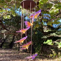Garden Decorations Outdoor Solar LED Lighting Butterfly Wind Chime Lamp Color Change Chandelier