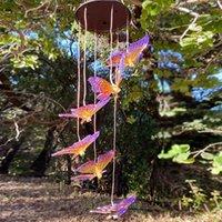 Bahçe Süslemeleri Açık Güneş LED Aydınlatma Kelebek Rüzgar Chime Lamba Renk Değişimi Avize