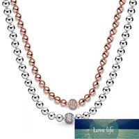 New 925 Sterling Silver Necklace Rose & Silver Beads & Pave Crystal Sliding Necklace For Women Wedding Gift Diy Europe Jewelry Factory price expert design Quality