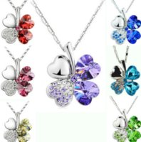 Ladies Necklaces Jewel Pendants Four Leaf Clover Long Neckless Flower Crystal Jewelry Girls Women Birthday Gift ps0733