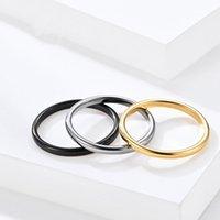 2mm breite einfache Wolframstahlschwanzringe Temperament-Paar Wolfram Gold Ring Freund Geschenk