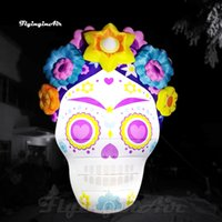 Outdoor Halloween Decorative Lighting Inflatable Devil Skull Balloon Huge Air Blown Ghost Face Mask For Park And Yard Decoration