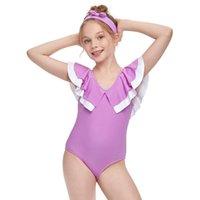 Toddle بيكيني 2021 ملابس سباحة صيف جميل 2-12t طفل أطفال بنات الكشكشة الصلبة قطعة واحدة أكمام ملابس السباحة الاستحمام الشاطئ D14 # قطعة واحدة