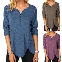 Women's T-Shirt Elegant Tops Casual Women Solid Color Long Sleeve Shirt V Neck Irregular Hem Ladies Office Streetwear Autumn