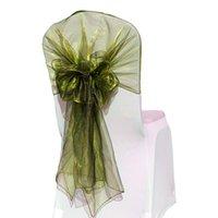 Sashes 10pcs 65x275cm Organza Chaise Hoods / Casquettes Envelopper la cravate Housse de couverture arrière pour la décoration de banquet EventParty