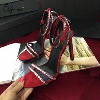 Lalymurs neue frühling sommer schwarz grün frauen sandalen sexy open toe kristall schnalle dünne high heel frauen sandalen party schuhe frau q9fe #
