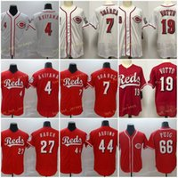 Mens 66 Yasiel Puig Jerseys Baseball 4 Shogo Akiyama 7 Eugenio Suarez 19 Joey Votto 27 Matt Kemp 44 Aristides Aquino Costurado Flexbase Cool