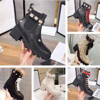 Klasik deri tasarımcı kalın tabanlı çöl Martin çizmeler beyaz arı yıldız iz dantel-up kış bayanlar yüksek topuk ayakkabı bağı kutusu