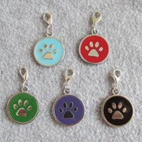 Círculo PAW Design Alloy de zinc Aleación de mascotas Etiquetas de identificación Pendientes para perros pequeños Gatos W