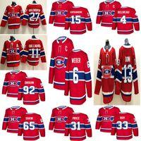 Montréal Canadiens 6 Shea Weber 31 Carey Fiyat 11 Brendan Gallagher 13 Max Domi Dikişli Kırmızı ve Beyaz Buz Hokeyi Formaları