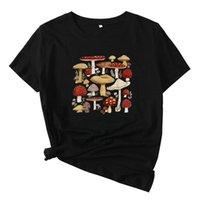 Frauen T-Shirt Mikialong Niedlich Pilz T-shirt Frauen Kurzarm Grafik T-Shirt Casual Cotton Tshirt Schwarz Camisetas Mujer