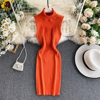 Womens Dress Vestido Slim Sleeveless Bodycon Knit Arrival Casual Dresses