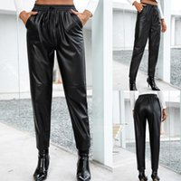 Women's Pants & Capris Black Brown Faux Pu Leather Slit Pencil Women Slacks 2021 Streetwear Mid Waist Trousers Sexy Skinny Long