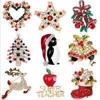 Christmas Brooches Pins Wholesale Crystal Rhinestones Flower Star Snowman Design Xmas Brooch Bulk Mix