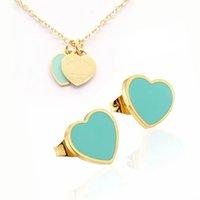 Yeni Gümüş Altın Vintage Emaye Pembe Yeşil Çift Kalp Takılar Kolye ve Küpe Takı Seti Kolye Lüks Kadın Erkek Zinciri Paslanmaz Jewellry Setleri