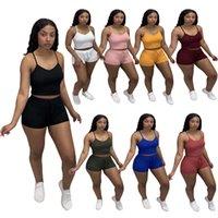 Mulheres Tracksuits para Summer Sport Ternos Designers Roupas 2021 Moda Casual Color Sólido Pendurar Cinto Colete Top e Shorts Dois Peça