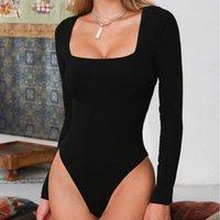 Bodysuit Langarm Jumpsuits Frauen Körper Streetwear Drop Foreefair Sexy Bodycon Square Hals Mantel Schritt Crotch Basic Black Overalls Top Frauen Overallsuit