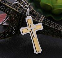 Pendant Necklaces Vintage Men's Titanium Steel Necklace Golden Double-layer Fashion Jewelry Stainless Chain Cross