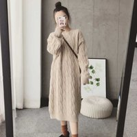 Women's Sweaters Twisted Knitted Sweater Dress Loose Long Sleeve Vintage Pullovers Women O-Neck Casual Midi Straight Harajuku X675