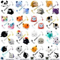 Reversible Animal Cat Panda Puppy Cartoon Cute Double Sided Flip Stuffed Plush Doll Stress Relief Anti-Anxiety Puzzle Fun Toys 210802