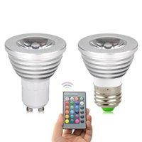 RGB LED 전구 GU10 E27 5W 원격 제어와 함께 화려한 변화 스포트 라이트 램프 램프 장식 파티 홈 전구