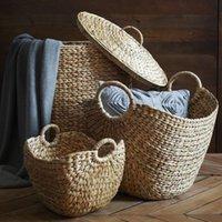 Rattan Kleidung Aufbewahrungskorb Handgewebtes Naturgras Große gewebtes Wäscherei-Hausorganisation und Körbe