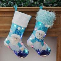Ornements de pendentif arbre de sapin de Noël LED avec des lumières Grandes chaussettes chaussettes sac de cadeau sacs de bonbons Décoration de Noël pour Santa Clause DWA7447