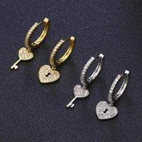 الأزياء مكعب الزركون قفل مفتاح غير متناظرة العصرية لطيف القلب الذهب هوب أقراط للنساء الزفاف الكورية مجوهرات بسيطة 2021