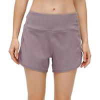 Pantaloncini sportivi L12 Donne Back Zipper Pocket Pocket Yoga Pantaloni corti abbigliamento Outfit Slipata traspirante Casual Running Sportswear Girls Esercizio fitness