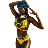 Swimwear sexy per ragazze americane Stampa gialla Cartoon Stampa Lady Sea Beach Bikini Swimwear Split Swimwear in due pezzi Cintura del costume da bagno Cinture di cravatta Elastico Taglia regolabile