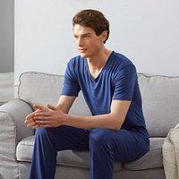 Été Modal Mens pyjamas Ensemble de dessus courte + pantalon long Pantalon de sommeil V-Col V-Cou Casual Soft Male Pyjamas Nightwear Nightwear pour homme Dormir Pygamas O7Y6 #