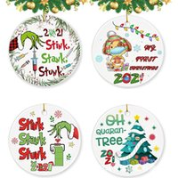 Grinch Christmas tree pendants Epidemic prevention themed round acrylic hangers decoration
