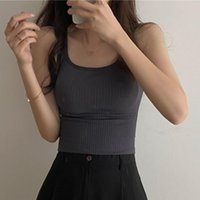 Women's Tanks & Camis Tank Top Women Solid Round Neck Ribbed Camisole Summer Basic Elastic Slim O