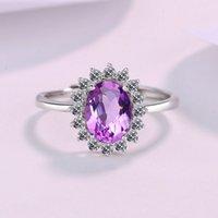 S925 plateado plateado noble sintético tansan piedra anillo de zafiro rojo-azul-azul amarillo amatista zircon anillo abierto