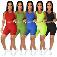 Donne di estate Tracksuits Solid Color Yoga Abiti Yoga Tank Top + Pantaloni corti Two Piece Set Plus Size 2XL Vestito da jogger Attiuso Casual Sportswear Black Fitness Sweatsuits 4677