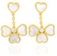 Moda Beautiful Four Leaf Clover Love Love Dangle Long Stud Orecchini con diamanti 18 carati Gold S925 Argento per Van Womengirls Wedding Valentine's Day Jewelry Regali