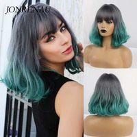 Perucas sintéticas JonrenAu Onda Curta Ombre Peruca Verde Escuro com Bangs para Mulheres Medium Comprimento Lolita Cosplay Hair Bob