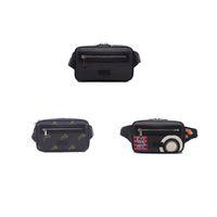 Multi Pochette, Bumbag, bolsas de cintura, bolsa de cinturón, hecho a mano de una tela de microfibra recubierta, con adornos de cuero negro, correa azul y roja, G017