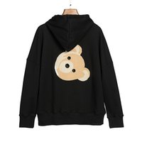 Pa lm Trendy angels trendy Plush Bear puppet head for men and women loose hooded sweater FN9W