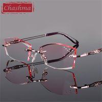 Chashma Pure Titanium Модная леди очки для глаз бриллианты без оправы Ориентированные оправы женщин 210323
