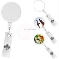 Blanc Blanc Sublimation DIY ID Porte-identifiant Tag Carte Badge Badge Round Plastic Solid Plastic Clip-On Rev réactable
