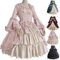 Mittelalterliche Retro GOTHED Court Royal Lady Ball Kleid Square Hals Enge Taille Bowknot Frauen Elegantes Kostüm Vestido Ropa Muj