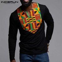 2021 الأزياء الملابس الأفريقية الرجال تي شيرت الطباعة طويلة الأكمام النمط العرقي الخامس الرقبة قمم dashiki القمصان hombre incerun