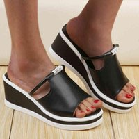 Женские летние тапочки платформы клинья Famele каблуки Peep Toe Beach открытый слайды повседневные сандалии женские ботинки слайды для женщин