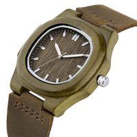 손목 시계 yisuya 2021 남자 여자 나무 시계 스페셜 스퀘어 다이얼 경량 나무 케이스 남성 여성 드레스 대나무 손목 시계 가죽