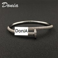 Donia jewelry luxury bangle nail bracelet ring set exaggerated titanium steel micro-inlaid zircon gift from European and American fashion designers