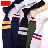 Корейский стиль случайный бизнес свадьба профессиональный полосатый трикотажный галстук мужская шерсть трикотажный галстук модный вязаный галстук