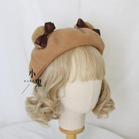 Japanese Cute Bear Ears Beret Cap Female Sister Wool Painter Warm Hat Student Other Event & Party Supplies