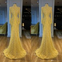 Glitter Yellow Evening Dresses High Collar Sequined Lace Long Sleeve Mermaid Prom Dress Feather Sweep Train Custom Made Robes De Soirée
