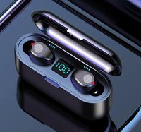 F9 Novelty Lighting TWS Wireless Headsets Large Capacity Charging Box Bluetooth-compatible Earphones Sport Waterproof With Touch Control 9D HiFI